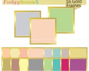 ON SALE Gold frames clip art,color background frame, frame A-170, Gold Outline square Frames, scrapbooking