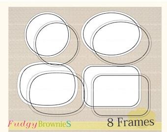 ON SALE _ Black Line Frames Clipart,Line frame Clip Art. Digital scrapbooking frames.A-10 ,  Instant download