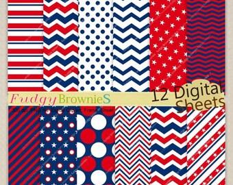 ON SALE Digital paper 12x12,4th of July digital paper,Patriotic,Independence day digital background,No.226/2  blue ,red, Instant download