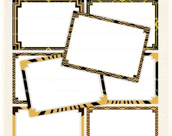 ON SALE Digital frame, Gatsby style Square Frames clipart, balck and gold digital scrapbooking frames.A-68 , Instant download