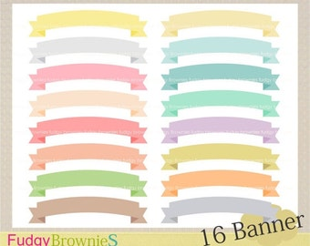 ON SALE Banner ribbon clip art, 16 scrapbooking label.S-04 ,label clip art, soft color label, Instant Download