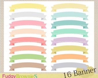 ON SALE Banner ribbon clip art, 16 scrapbooking label.S-04 ,label clip art, soft color label, Instant Download