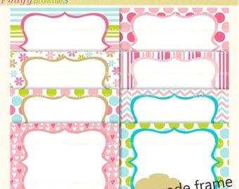 ON SALE premade frame,premade cards tea party invites,Frames clip art,pink,digital scrapbook frames white background inside P-06 ,  Instant