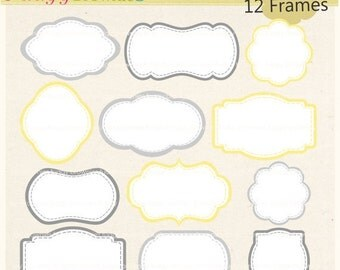 ON SALE frames clip art,yellow and grey frame clipart,white background frame,frame A-106,baby frames,scrapbooking,instant download