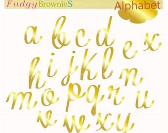 ON SALE gold Alphabet clip art , gold letter clipart, letters clip art, A-Z 05, cards, scrapbooking ,gold clip art