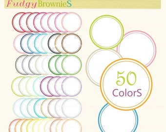 ON SALE Digital Label, circle frames clip art, 50 colors scrapbooking label.L-14, instant download lable clip art