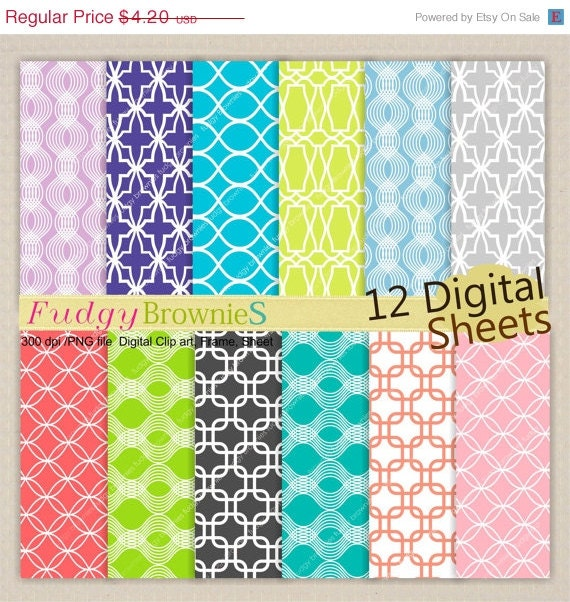 ON SALE Lattice Digital paper pack 7.5x11,scrapbooking , No.103 Digital paper, yellow, blue, pink, lime,  Instant download