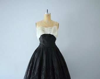 1950s dress . vintage party dress . 50s silk organza dress