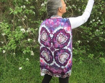 Sleeveless Vest with Waterfall Front, Tie-dyed in Purple with Hearts