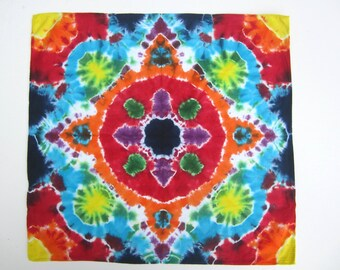 Square Bandana Scarf Tie-dyed in a Rainbow Colored Mandala