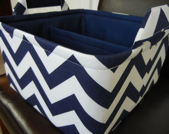 "LG Diaper Caddy(choose COLORS) 10""x10""x6""- One Divider -Baby Gift-Fabric Storage Organizer-Chevron-""Navy Blue Zigzag"""