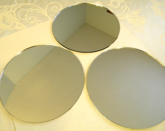 3 Round Mirrors for Crafts or Perfume Bottle Base - 6-1/2 inch