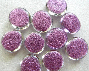 10 Glass GLITTER Gems - LIGHT PURPLE Color - Medium Size - Hand Painted - Half Marbles/Cabochons