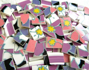 MOSAIC China Tiles - Bright RETRO FLOWERS - 95 Tiles - Recycled Plates