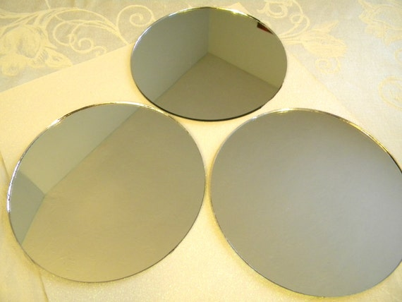 3 round mirrors for crafts or perfume bottle base 6 1 2 inch for Small round craft mirrors