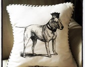 "shabby chic, feed sack, french country, American Pit Bull  graphic with ticking stripe welting 14"" x 14"" pillow sham."