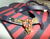 Vintage Rare Guess Flip Flops 80s  Sandals Shoes Size 8 Wedge Bling Crystals Gold Nautical Metal Trim Acc. Beach Wear Red & Blue Stripe