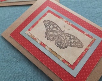BUTTERFLY cards, Set of  6, Blank, ALL Occasion, Made by Hand for Medical Research