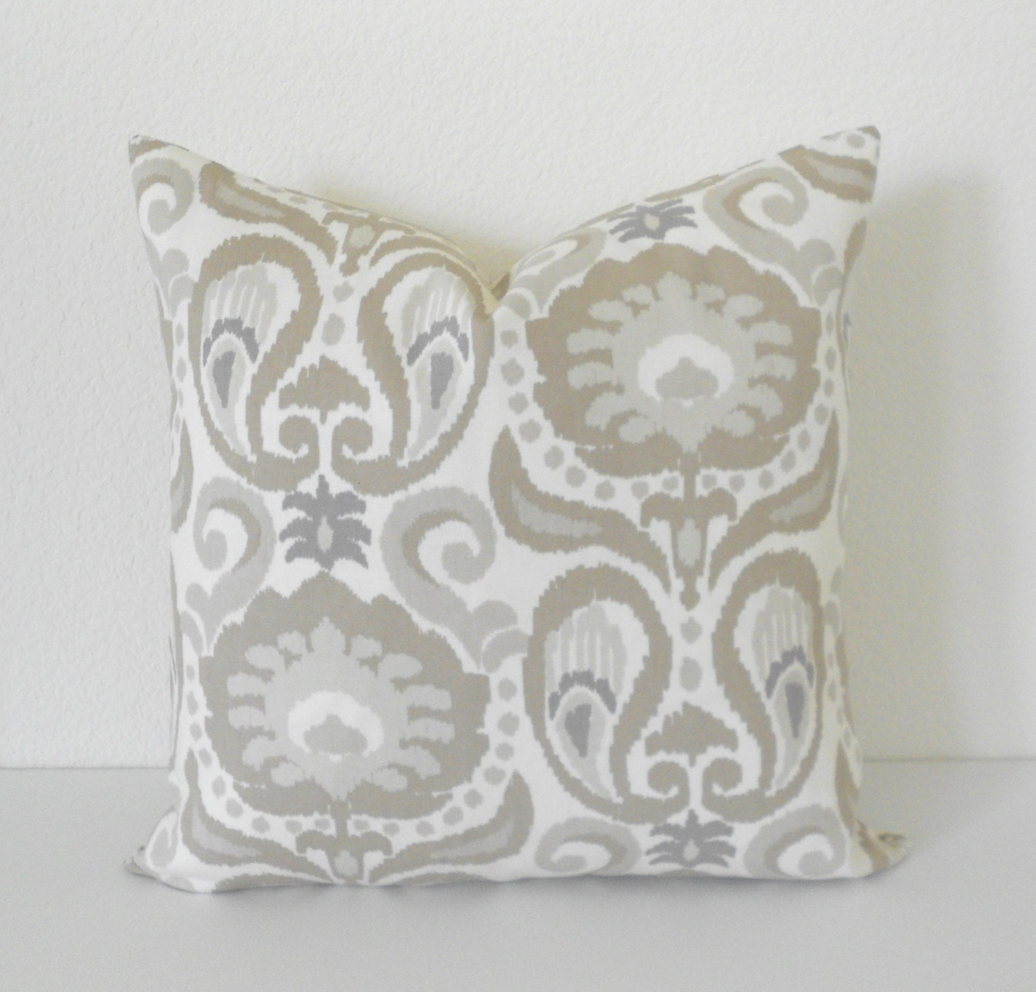 Decorative Pillow Ivory : Gray tan ivory floral ikat decorative pillow cover