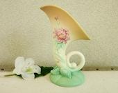 1940's Hull Art Pottery Vase - Woodland Cornucopia - Botanical Nature Theme Country Cottage Chic Spring Decor - Mother's Day Gift