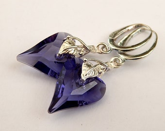 Tanzanite Wild Heart Earrings Sterling Silver Dangle Earrings Gemstone Wedding Jewelry