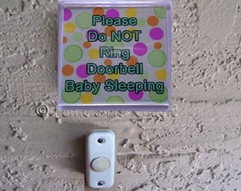 Baby Sleeping Doorbell Sign WordsyWays on Etsy