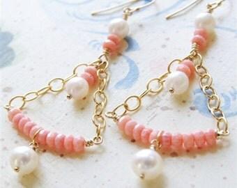 Coral Chandelier Earrings Peach Coral Jewelry Long Dangle Earrings Freshwater Pearl 14kt Gold Filled Pink Coral Earrings Jewelry