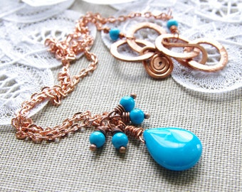 Turquoise Necklace Copper Jewelry Wire Wrapped Gemstone Pendant Aqua Blue Briolette Delicate Autumn Fall December Birthday Gift Birthstone