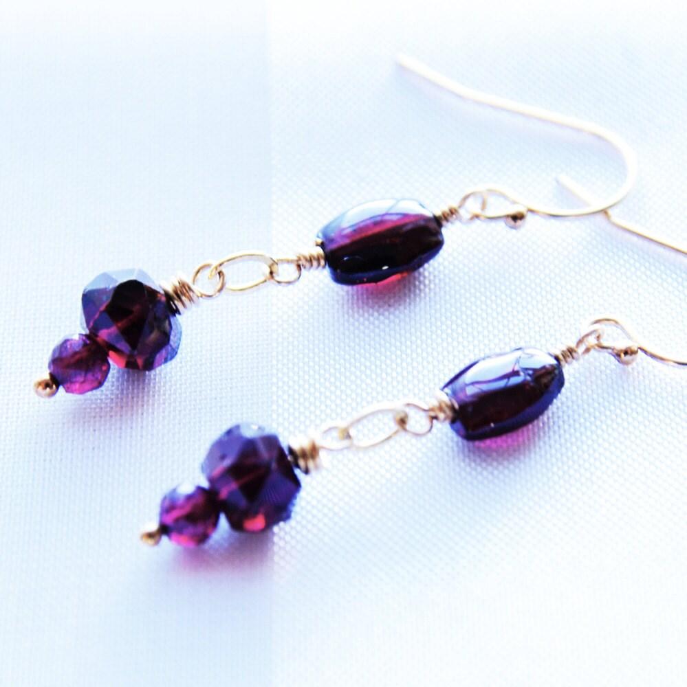 garnet earrings gemstone jewelry dangle earrings by