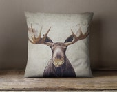 Moose pillow cover - pillow case - moose accent pillow case - antlers throw pillow case - rustic pillow case - moose antlers cover