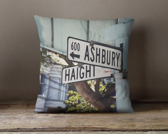 Haight Ashbury Pillow cover - pillow cover - decorative pillow cover - Haight Ashbury San Francisco pillow cover - SF street sign art