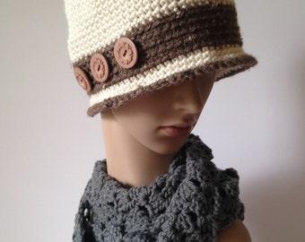 Women's winter flapper hat, Downton Abbey hat, women's retro cloche
