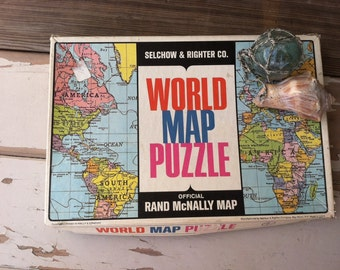 Vintage 1960's World Map Puzzle - Mid Century Jigsaw by Rand McNally, Its Game Night! Family Fun No Electronics Let's Play A Game, World Map