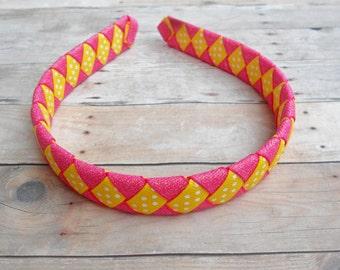 Pink Lemonade Pink and Yellow woven headband