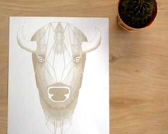 HELLO BUFFALO | Geometric Animal Print, Laser Etched Art Print