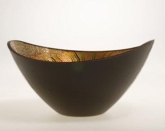 Gold and Black Bowl, Verre Eglomisé Glass Bowl, Fern Glass Bowl, 23-Karat Gold Leaf, Hand Painted Fern Design, Home Decor, Gilded & Painted