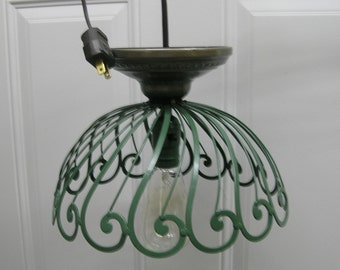 ON SALE...Upcycled Recyled Hanging Metal Ceiling Light with Marconi Bulb Sage Green & Gold