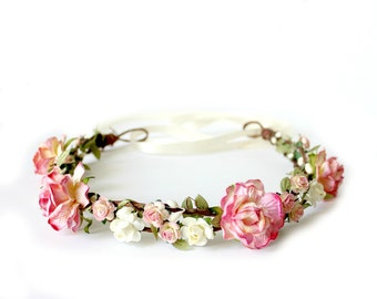 Strawberry Pink Flower Crown, rustic wedding, Bohemian,Woodland, bridal hair accessories, summer, bridal headpiece, pink rose - WILD ROMANCE