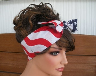 American Flag Headband 4th of July Dolly Bow Summer Fashion Accessories Women Head Scarf Headwrap by creationsbyellyn