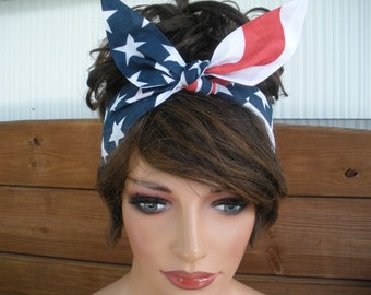 American Flag Headband July 4th Headband Summer Fashion Accessiories Women Headscarf Tie Up Headband Bandana