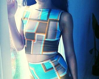 geometric high waist sports bikini