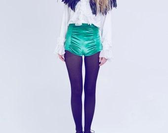 green velvet high waisted hot pants shorts