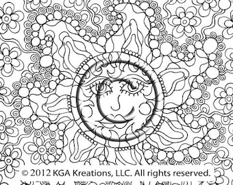 instant pdf digital download coloring page hand drawn zentangle inspired psychedelic solis of love - Psychedelic Hippie Coloring Pages