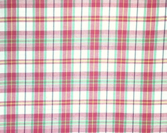 Red and White Madras Plaid Fabric , 1 Yard