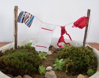 Fairy Garden Accessory Beach Themed Clothesline with Miniature Bikini DIY Fairy Garden, Beach Fairies 1:12 Scale