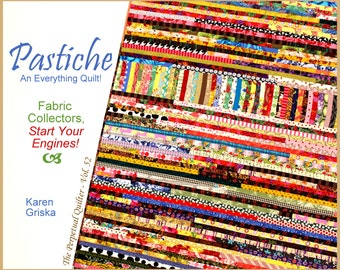 Pastiche Quilt Pattern, Scrap Quilt, String Quilt, Unique Quilt, Quilt Tutorial, Instant Download