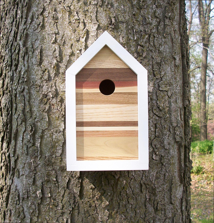 Modern Contemporary Reclaimed Wood Birdhouse Nest Box