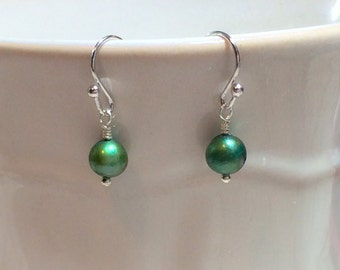 Emerald Green Fresh Water Pearl Earrings Stocking Stuffer Christmas Gifts Wedding Jewelry Bridesmaid Sister Friend