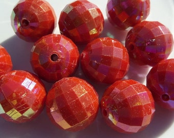 20mm, 10CT, Bright Red faceted Gumball Beads, Gumball, Chunky Beads for fall, Acrylic Beads, Round, Solids, E14