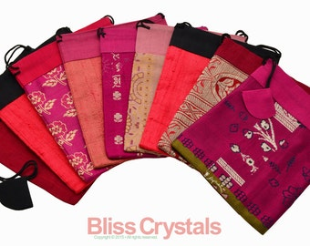 """1 Upcycled Vintage SARI BAG 4"""" x 5"""" Red & Pink Tones Silk Dupioni Pouch for Crystals Wedding Favor Party Gift Bag Jewelry Storage Brocade"""